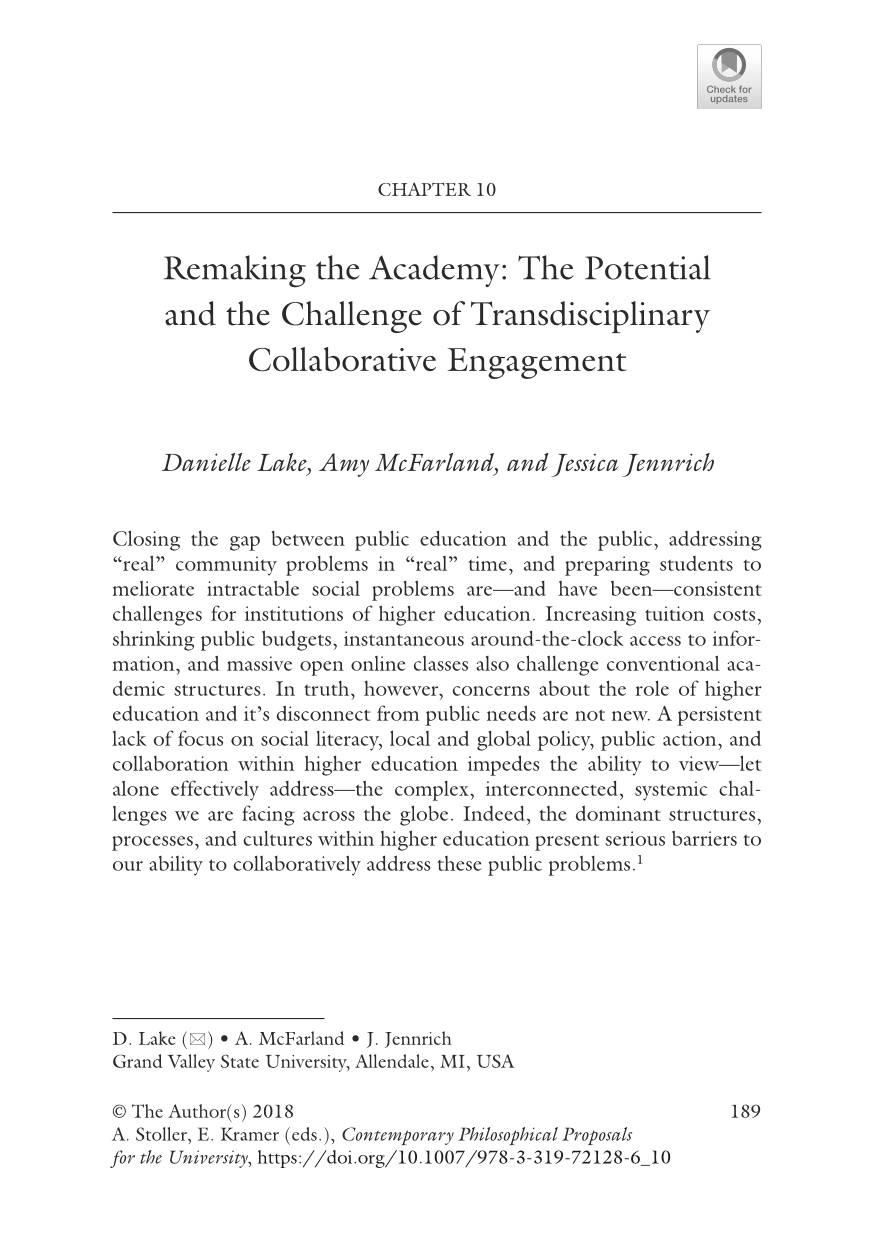 "Amy McFarland's publication ""Remaking the Academy: The Potential and the Challenge of Transdisciplinary Collaborative Engagement"""
